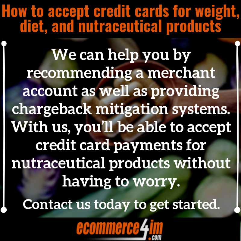 accept credit cards for nutraceutical, weight, and diet supplements - Quote Image