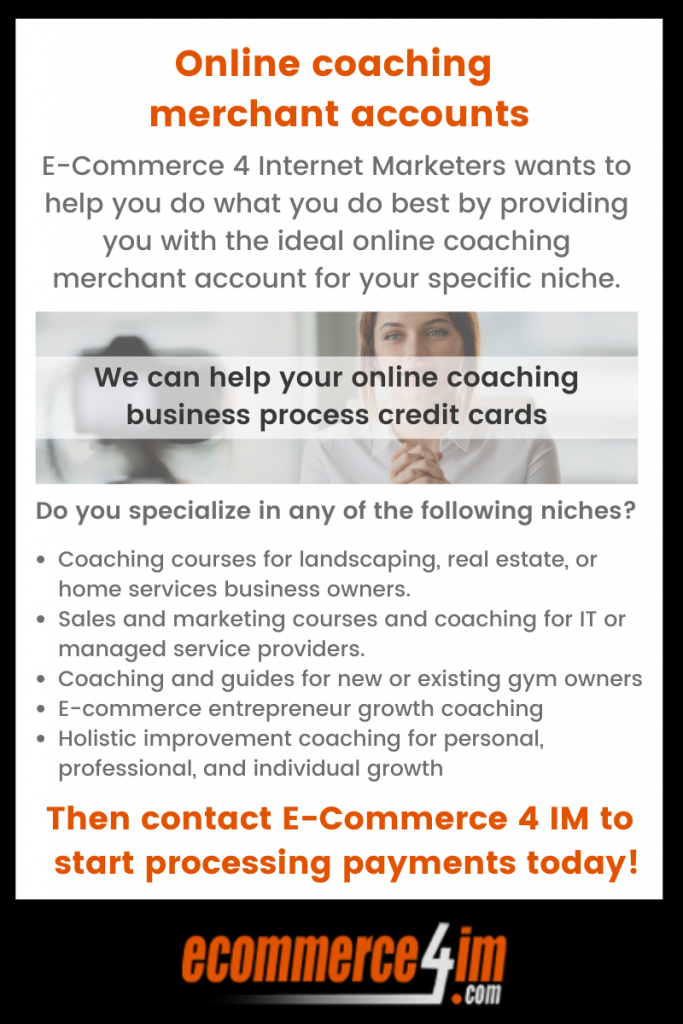 online coaching merchant accounts infographic summarize EC4IM's services for online coaches